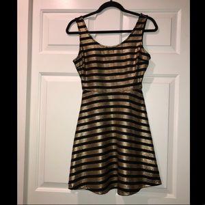 Gold & Black Striped Dress